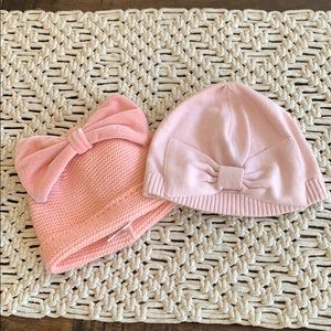 lot of baby winter hats mud pie & gap pink EUC